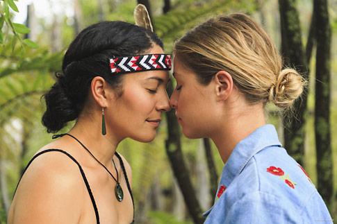 Maori Girl greets High School Exchange Girl